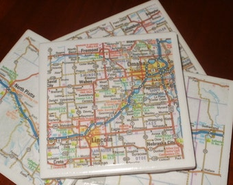 Nebraska Road Map Coasters...Set of 4...For Drinks or Candles...Full Cork Bottoms NOT Felt