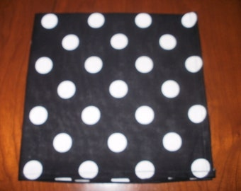Dinner Napkins...Set of 4...Black & White Polka Dots....17 inches...Stitched Hems Not Serged...FREE SHIPPING
