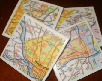 Map Coasters - Washington DC Area Road Map Coasters...Including Alexandria...Set of 4...For Drinks or Candles...Full Cork Bottoms NOT Felt
