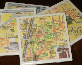 Map Coasters - Barcelona Map Coasters...Set of 4...Full Cork Bottoms NOT Felt...For Drinks or Candles