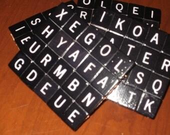 Scrabble Coasters...Rare Black Diamond Tiles...Set of 4...FREE SHIPPING...Full Cork Bottoms NOT Felt