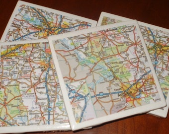 Map Coasters - S. Carolina Coasters...Augusta and Columbia...Set of 4...For Drinks or Candles...Full Cork Bottoms NOT Felt
