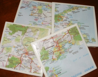 Map Coasters - Alaska Map Coasters...Including Anchorage and Fairbanks...Set of 4...Full Cork Bottoms