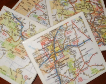 Map Coasters - New Mexico Map Coasters...Including Albuquerque and Sante Fe...Set of 4...Full Cork Bottoms...For Drinks, Coffee or Wine