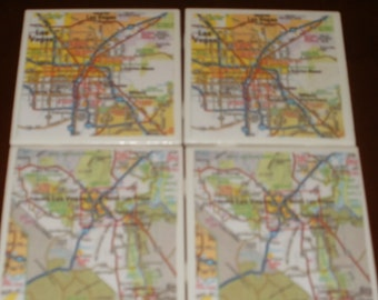 Map Coasters - Las Vegas Coasters...Set of 4...For Drinks and Candles...FULL Cork Bottoms