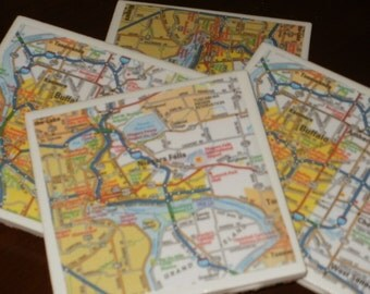 Niagara Falls and Buffalo Map Coasters...Set of 4...Full Cork Bottoms...For Drinks and Candles