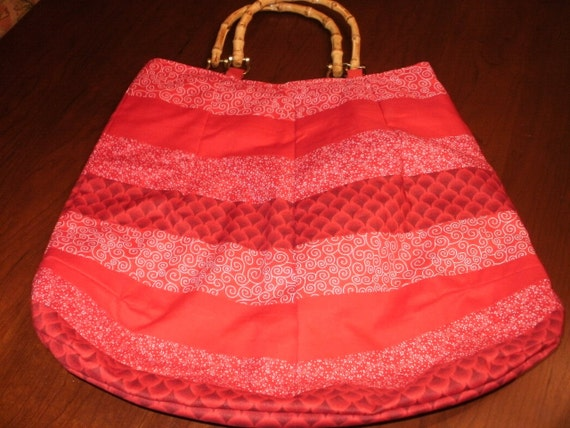 Red Fabric Bag with Bamboo Handles...Reversable with Polka Dots...FREE SHIPPING