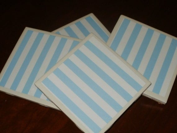 Sale...Baby Blue Awning Stripe Tile Coasters...Set of 4...For Drinks, Wine or Candles