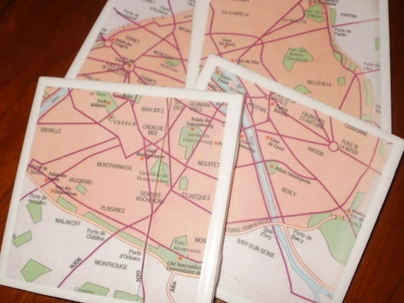 Map Coasters - Paris Street Map Coasters...Set of 4...For Drinks or Candles