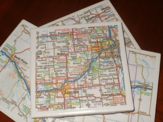 Map Coasters - Nebraska Road Map Coasters...Set of 4...For Drinks or Candles...Full Cork Bottoms NOT Felt