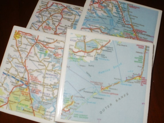 Map Coasters - NC Outer Banks Map Coasters...Set of 4...Full Cork Bottoms NOT Felt