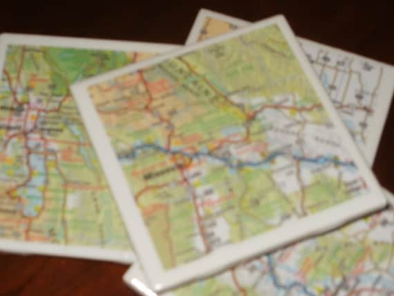 Map Coasters - Montana Road Map Coasters...Set of 4...For Drinks and Candles