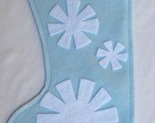 Eco  felt snowflake stocking--blue and white