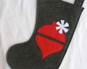 eco felt christmas stocking with ornament--red and charcoal