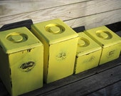 Bee Yellow Set of Four Canisters