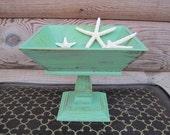 Hand Distressed Jadeite Green Wooden Pedestal Bowl