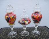 Three Wedding Pedestal Glass Apothecary Jars