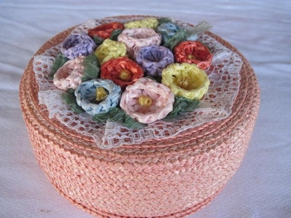 Sweet Pink Vintage Straw and Lace Jewelry Or Sewing Box