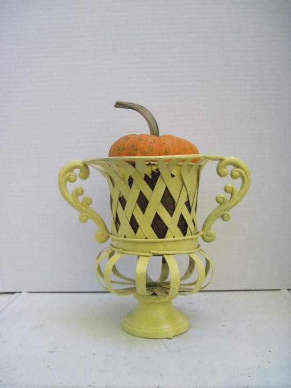 Farmhouse Chippy Yellow Wrought Iron Vase