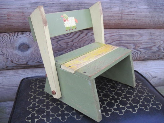Mary Had A Little Lamb Childrens Wooden Step Stool