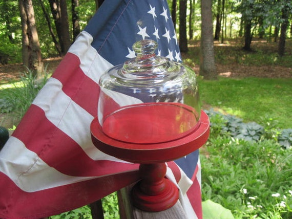 Upcycled Red Pedestal Cloche