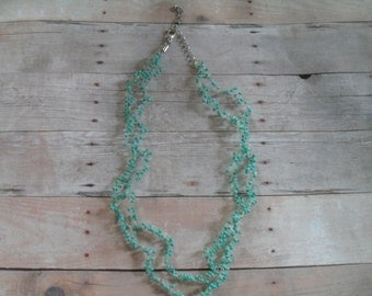 Turquoise Beaded and Crocheted Necklace