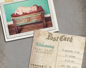 Vintage Post Card style Baby announcement