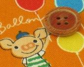Lucas pig Orange color fabric Japanese craft item half yard