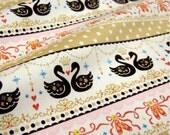 Japanese fabric Swan printed half yard