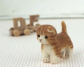 DIY Needle wool felt Brown cat KIT Japanese craft kit