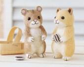 DIY Felted wool Hamster friends KIT Japanese craft kit by Hamanaka