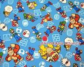 SUPER Mario fabric Blue color one yard