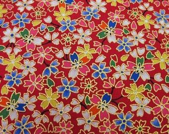 Beautiful Japanese kimono cotton fabric Sakura(cherry blossom)printed FQ