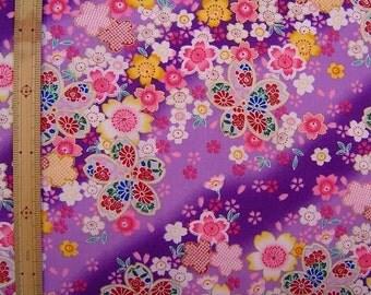 Japanese kimono cotton fabric cherry blossom printed half yard