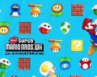 SUPER Mario fabric Blue color One yard