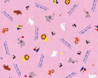 Small Animal land Japanese cotton fabric pink color FQ