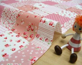 Patchwrok printed fabric pink color half yard