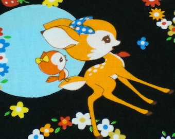 Bambi  Printed Japanese cotton fabric black color half yard