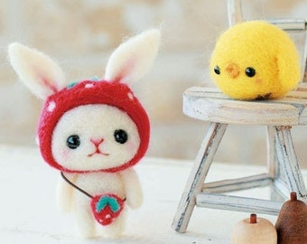 DIY Needle wool felt Rabbit and chick KIT Japanese craft kit