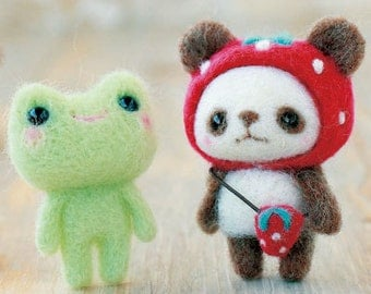 DIY Needle wool felt Panda bear and Frog KIT Japanese craft kit