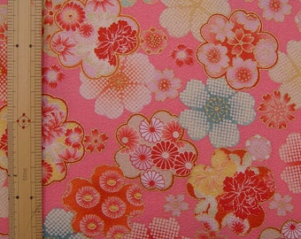 Japanese  kimono cotton fabric flower printed half yard
