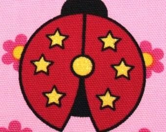 Half yard lady bug  japanese fabric pink color