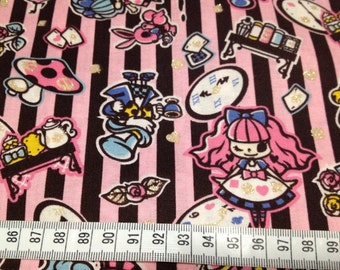 Alice in wonderland fabric black and light pink one yard