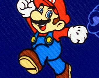 Super  Mario fabric Blue color Half yard