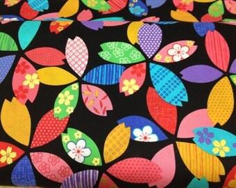 1M Japanese  kimono cotton fabric flower printed