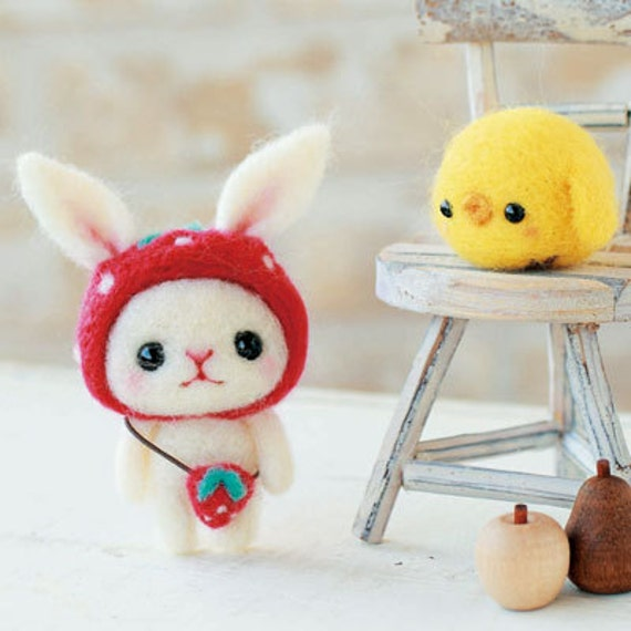 DIY Needle wool felt Rabbit and chick KIT Japanese craft kit