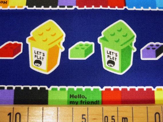 Push the pin  fabric Navy blue color Lego block Japanese cotton fabric 100cm x 75cm