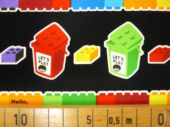 Lego fabric Black color Lego block Japanese cotton fabric