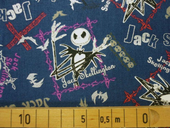 Nightmare Before Christmas fabric right navy blue color half yard ...