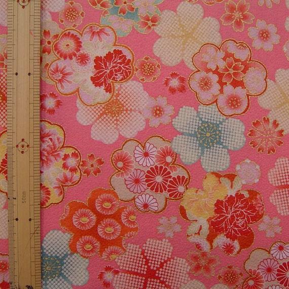 Japanese  kimono cotton fabric flower printed one yard